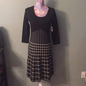 NWT Nine West Sweater Dress XS Black White Grid